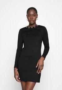 Calvin Klein Jeans - LOGO TRIM MILANO DRESS - Jersey dress - black - 0