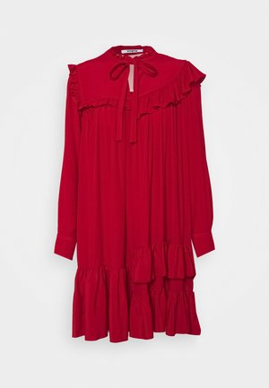 RUFFLE DRESS - Denní šaty - red