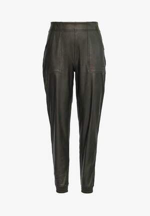 LEATHER-LIKE JOGGER PANTS - Trousers - classic black
