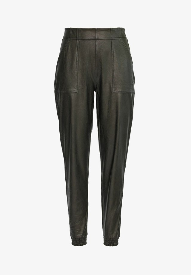 LEATHER-LIKE JOGGER PANTS - Pantaloni sportivi - classic black
