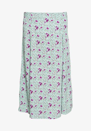 MIDI CIRCLE SKIRT - A-line skirt - stem green floral