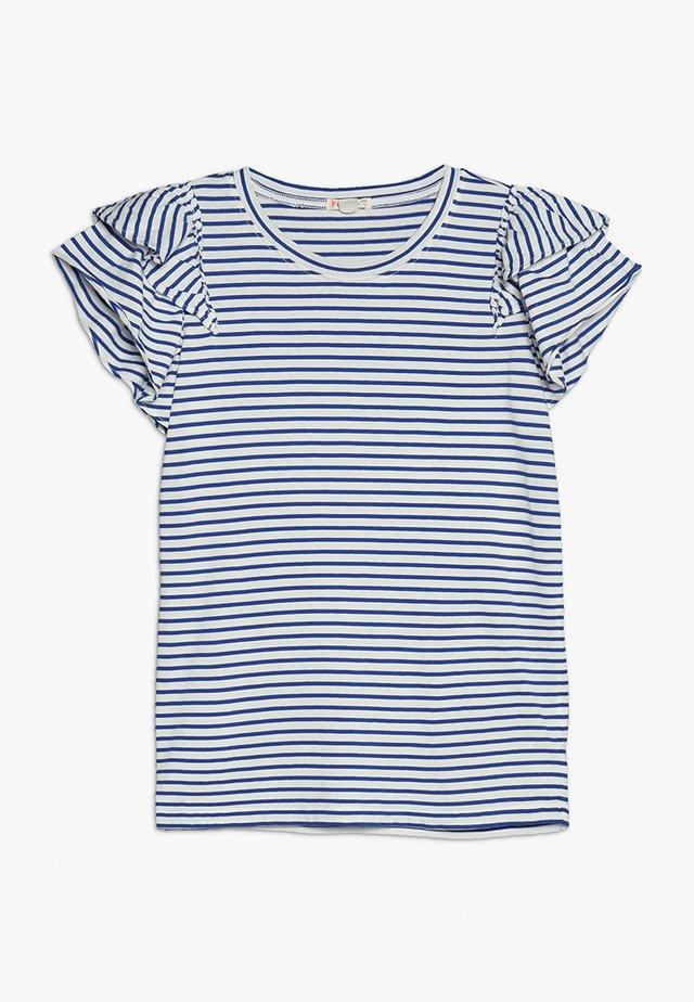 LILIAN - Print T-shirt - ivory/blue