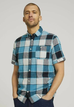 Chemise - teal blue navy big check