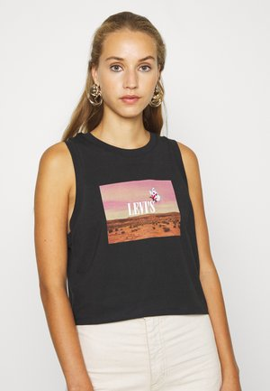 GRAPHIC CROP TANK - Linne - black