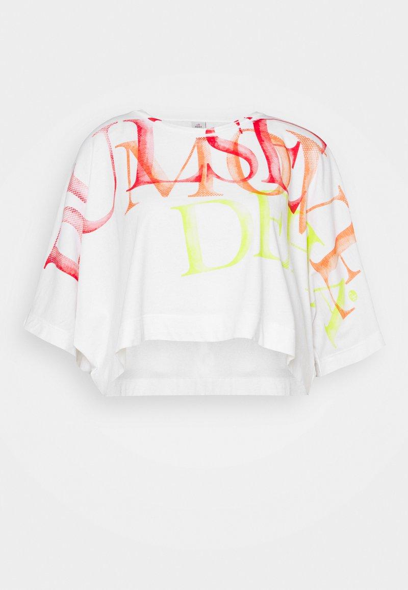 Deha - WIDE CROP - Print T-shirt - white