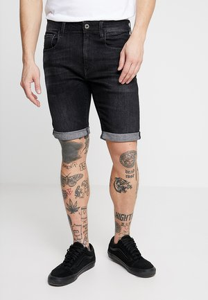 3301 SLIM 1/2 - Denim shorts - elto black superstretch - medium aged grey