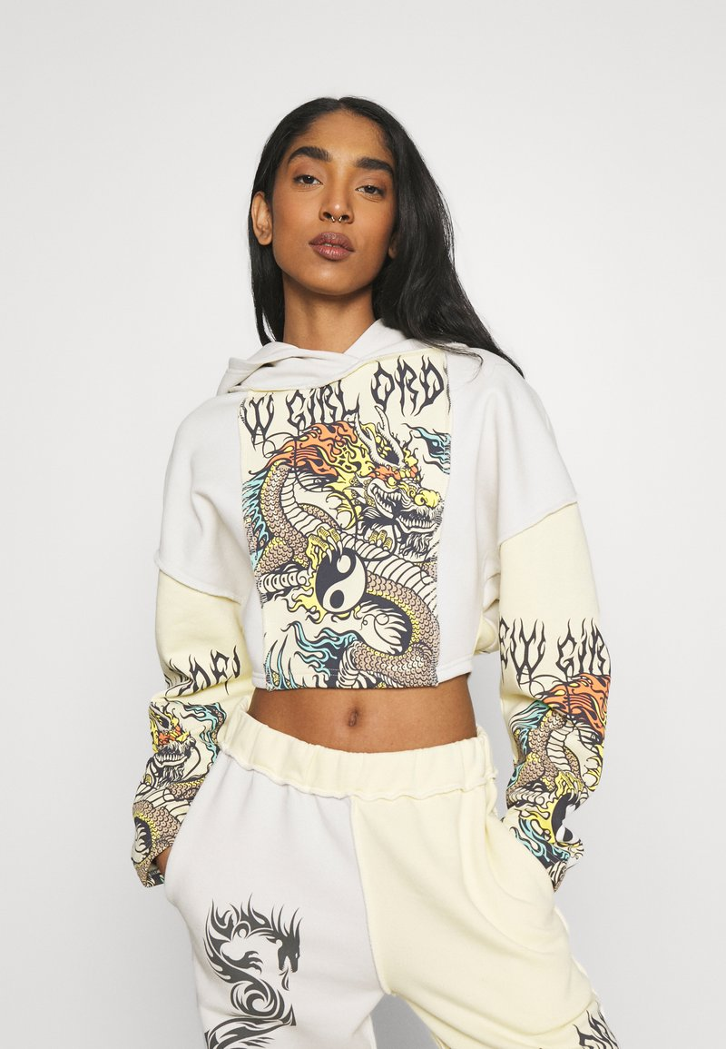 NEW girl ORDER - YIN YANG DRAGON PANEL HOODY - Sweatshirt - cream