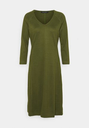 DRESS LONG SLEEVE VNECK - Jersey dress - native olive