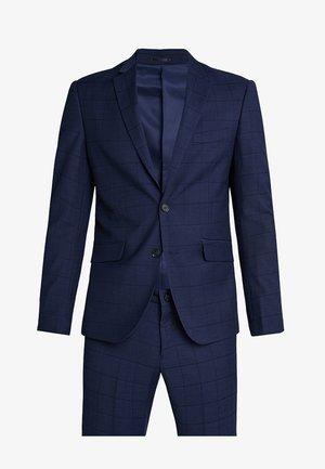 CHECKED SUIT SLIM - Oblek - dark blue
