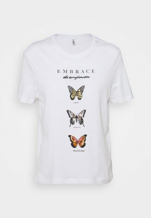 ONLKITA LIFE BUTTERFLY - Print T-shirt - bright white