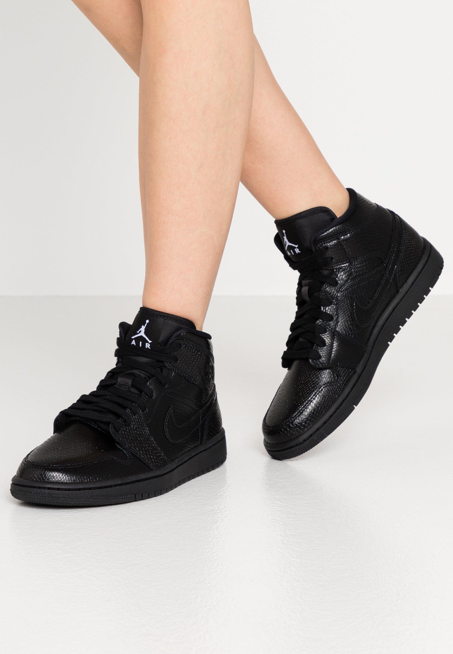 Jordan WOMENS AIR 1 MID - Baskets montantes - black/white/noir ...