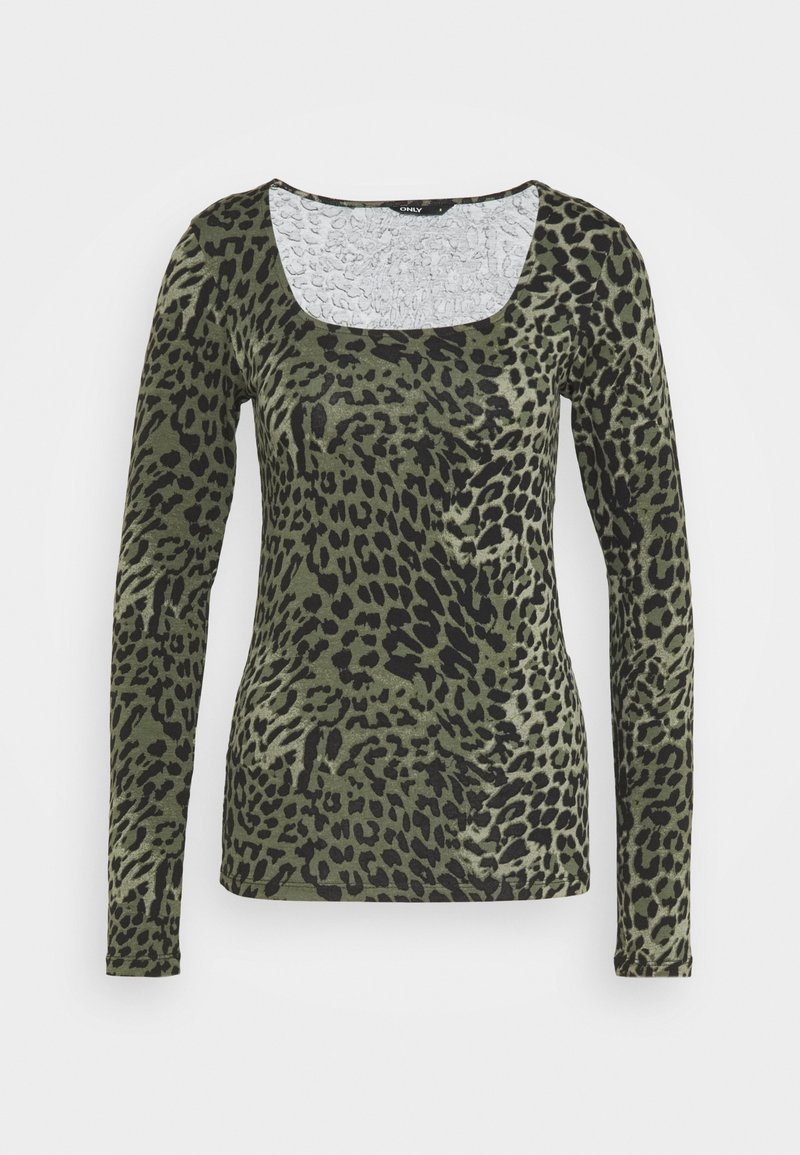 ONLY Tall - ONLBELLA LIVE LOVE SQUARE  - Long sleeved top - kalamata/green leo