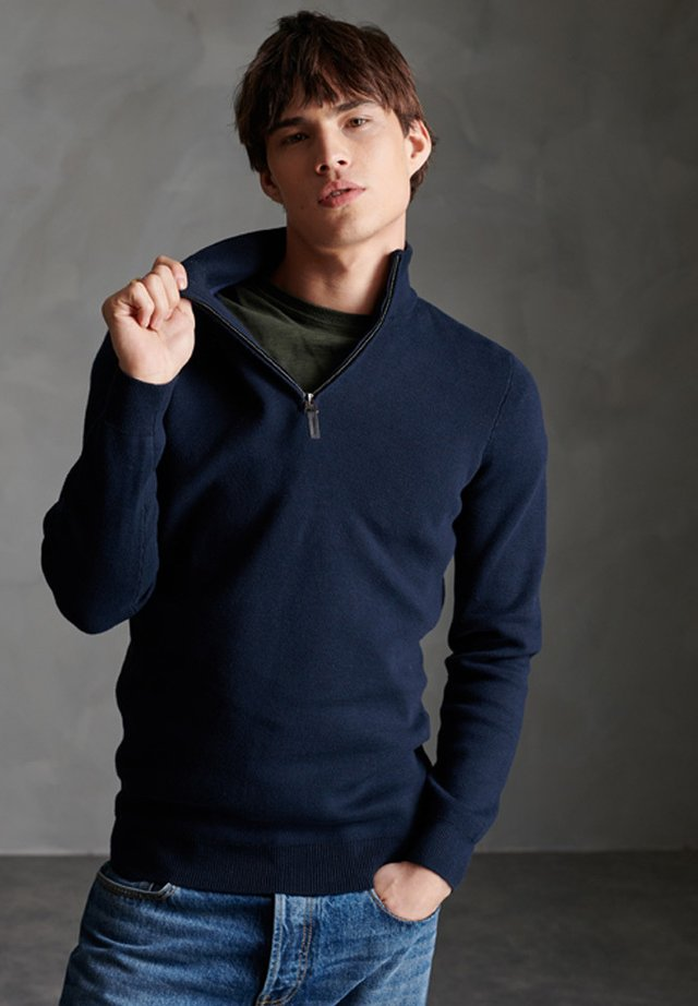 SUPERDRY ORANGE LABEL COTTON HENLEY JUMPER - Trui - classic navy