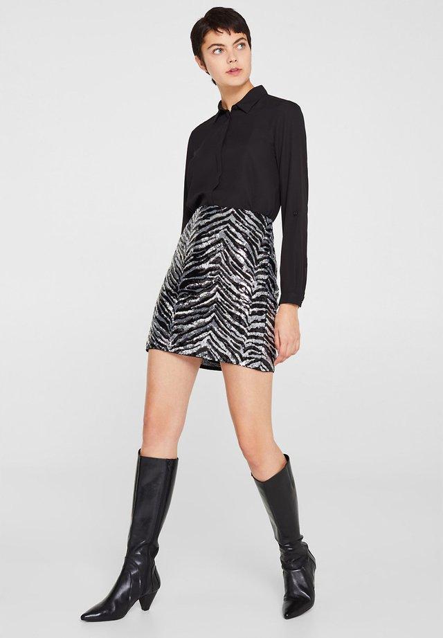 MIT ZEBRA-LOOK - A-line skirt - black