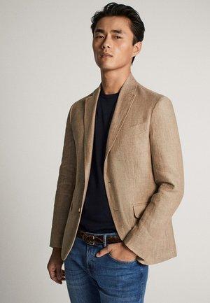 MIT FISCHGRÄTENMUSTER - Blazer jacket - beige