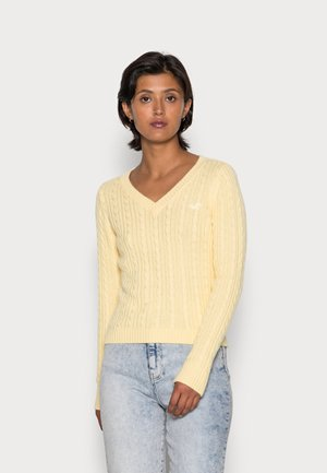 ICON CABLE V NECK  - Jumper - yellow