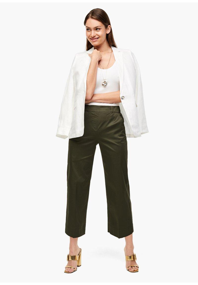 s.Oliver BLACK LABEL - POPELINE - Trousers - dark khaki green