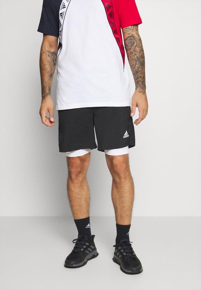SHORT - Sports shorts - black/white
