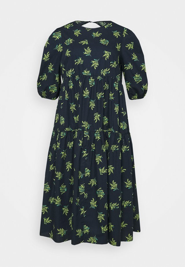 DRESS WITH ROUND NECKLINE AND PUFF - Robe d'été - navy