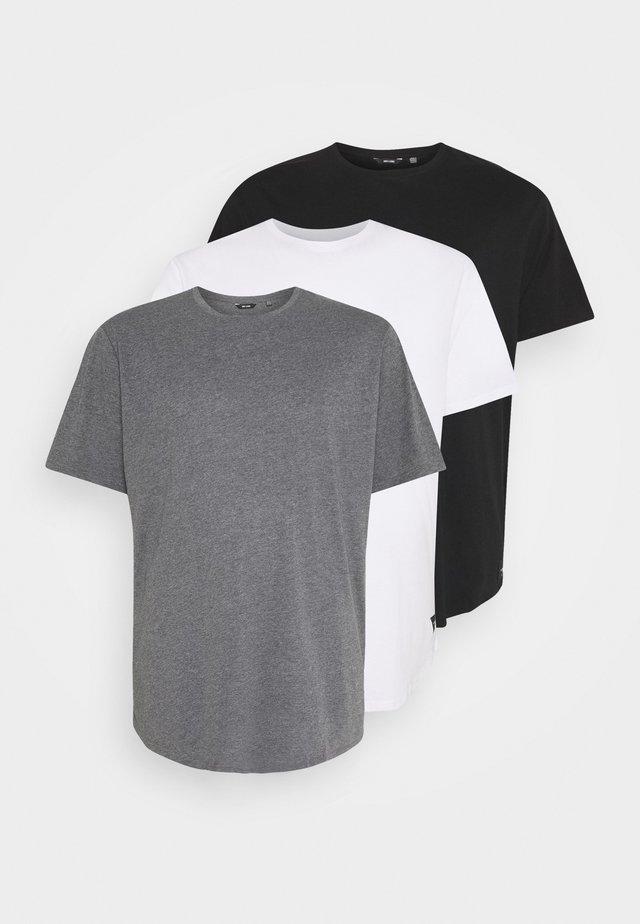 MATT 3 PACK - Basic T-shirt - black/white/dark grey