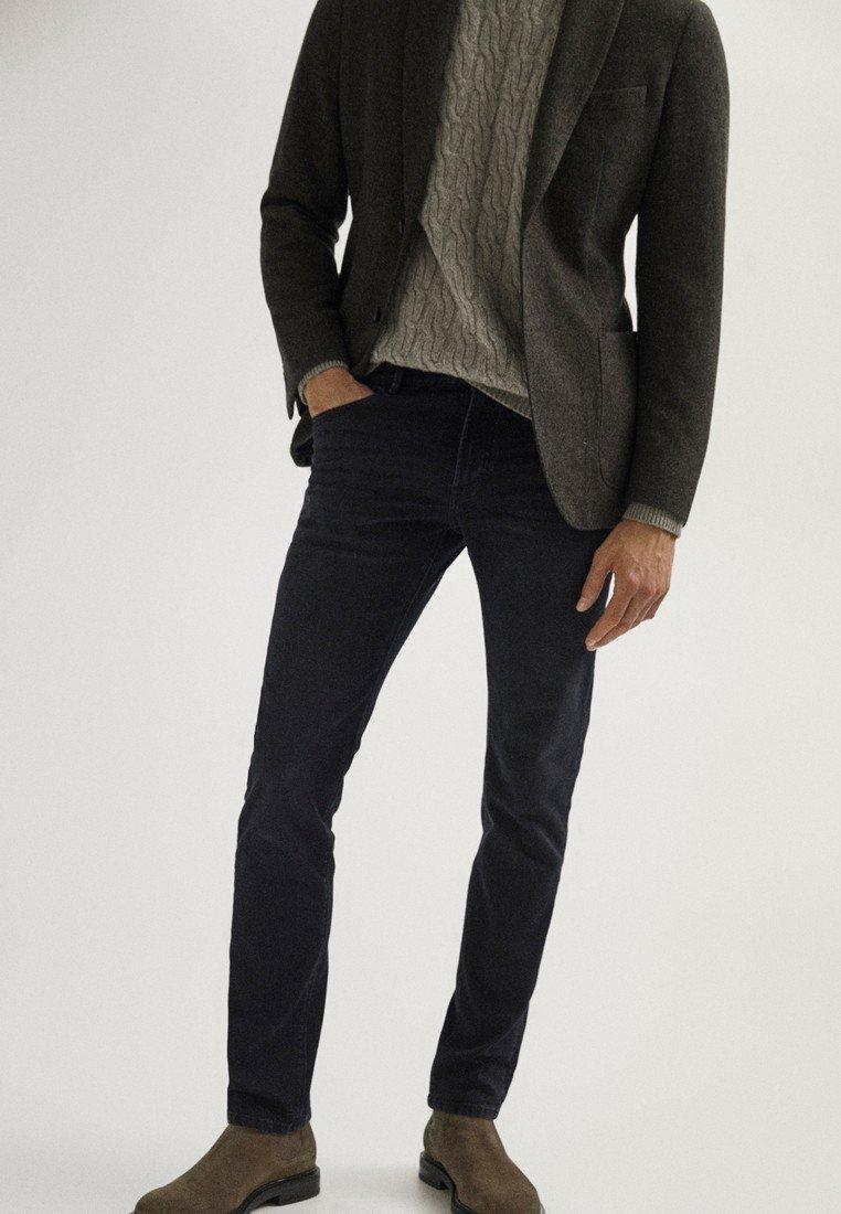 Massimo Dutti - MIT WEBKANTE - Slim fit jeans - black