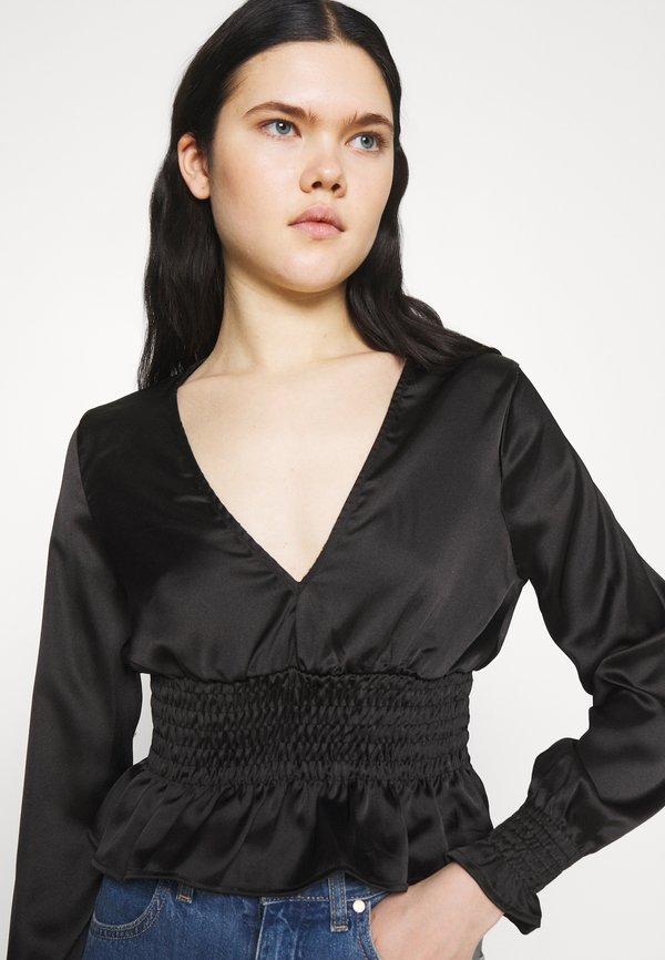Topshop SHIRRED WAIST - Bluzka z długim rękawem - black/czarny IHKL