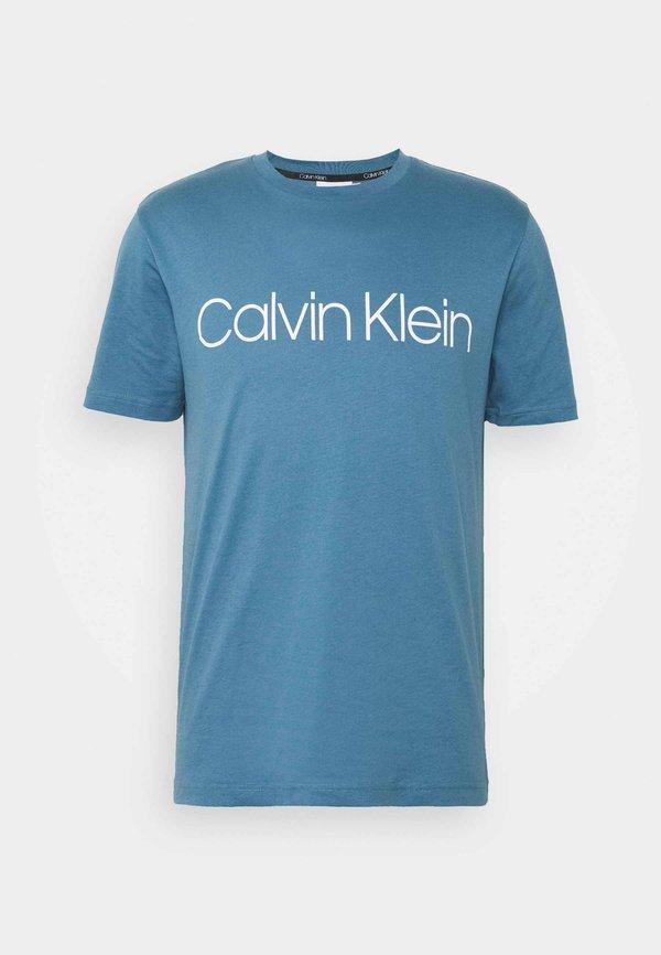 Calvin Klein FRONT LOGO - T-shirt z nadrukiem - blue/granatowy Odzież Męska POEW