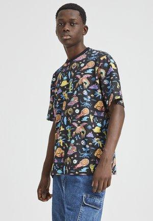 RICK & MORTY MIT PRINT - T-shirt con stampa - mottled black