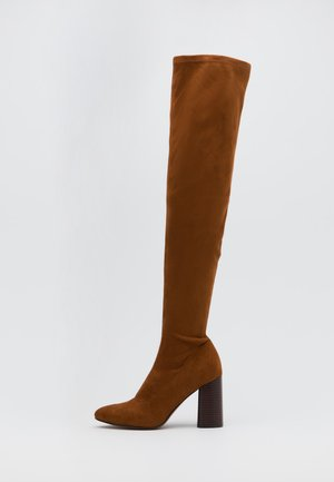 ONLBRODIE LIFE STACKED BOOT  - Over-the-knee boots - cognac