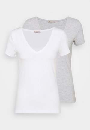 2 PACK - T-shirt basic - white/mottled light grey