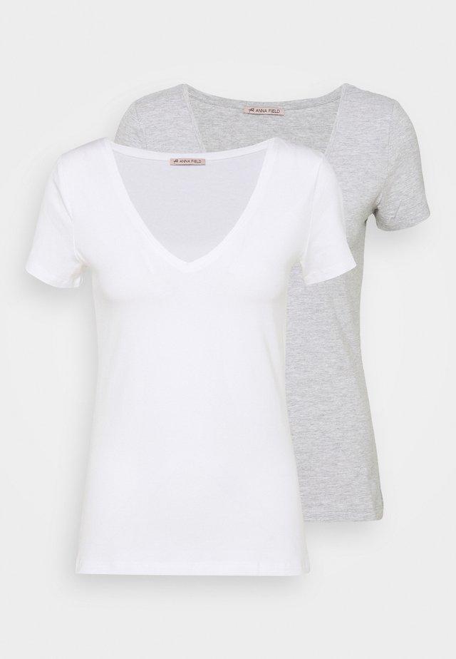 2 PACK - Jednoduché triko - white/mottled light grey