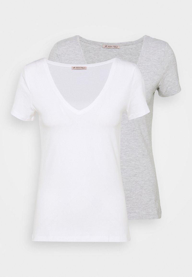 Anna Field - 2 PACK - T-shirts basic - white/mottled light grey