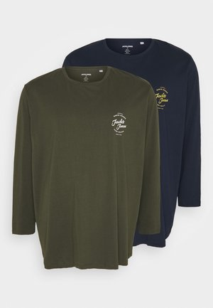 JJHERO TEE CREW NECK 2 PACK - Longsleeve - navy blazer/with forrest night