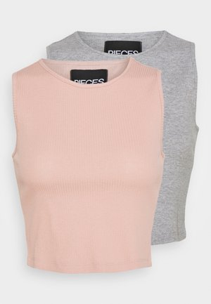 PCBINE CROP 2 PACK  - Linne - light grey melange/misty rose