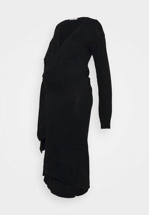 TIE WRAP FRONT LONG SLEEVE MIDI DRESS - Pletené šaty - black