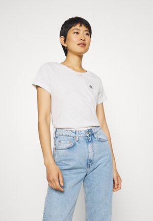 EMBROIDERY SLIM TEE - Jednoduché triko - white/grey heather