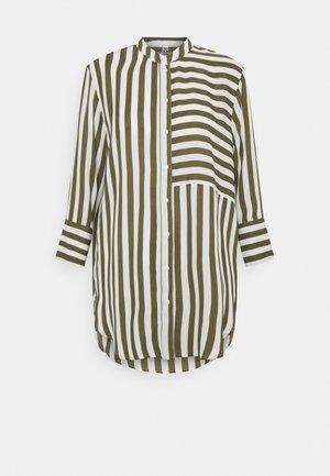 JDYSINUS LIFE LONG SHIRT - Button-down blouse - kalamata/cloud dancer