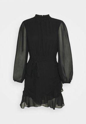 HIGH NECK RUCHED DRESS - Jurk - black