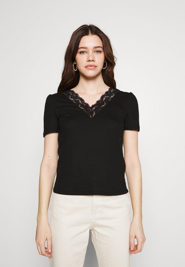 VIATHALINA V NECK  - T-shirts print - black