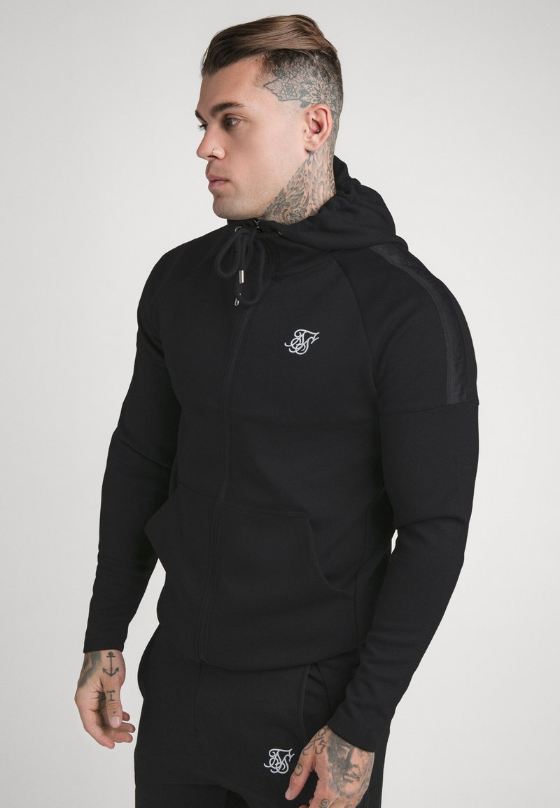 SIKSILK - SIKSILK MOTION TAPE ZIPTHROUGH - Mikina s kapucí - black