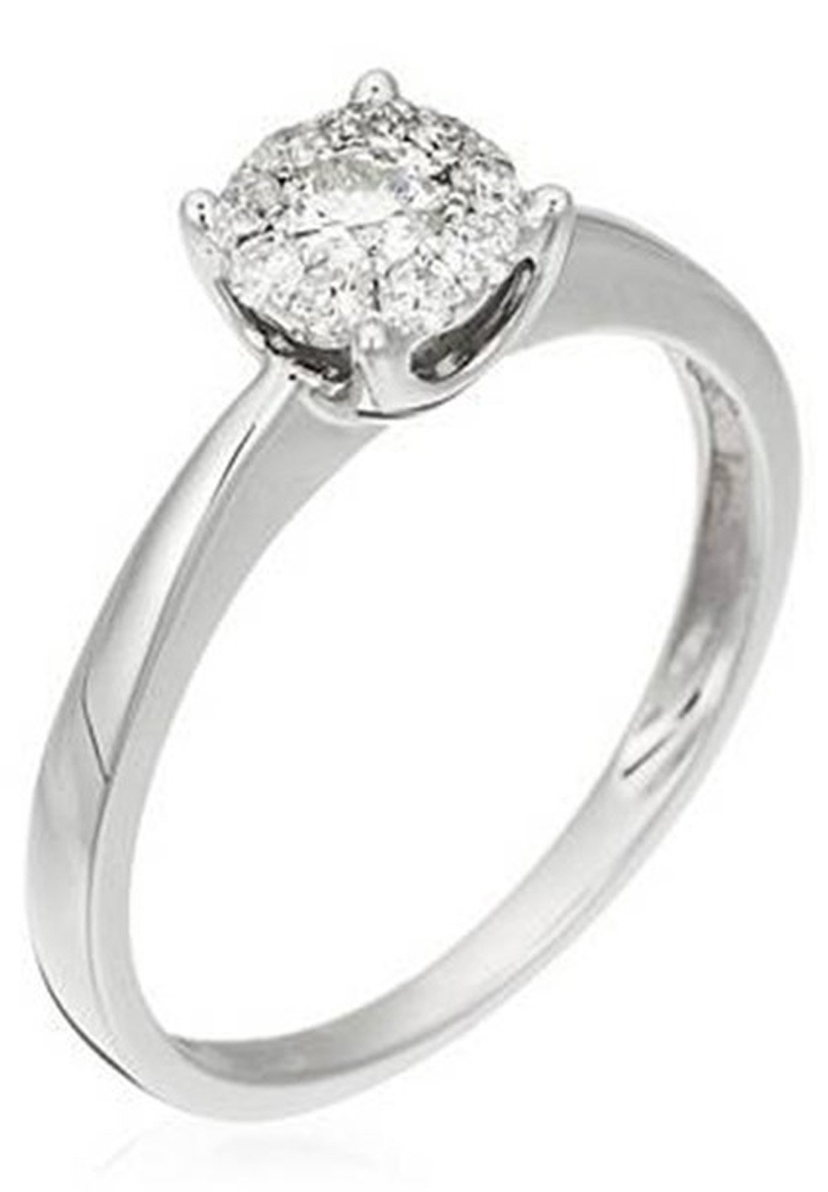 Damen WHITE GOLD RING 9K CERTIFIED 10 DIAMONDS HSI AND 9 DIAMONDS 0.27 CT - Ring