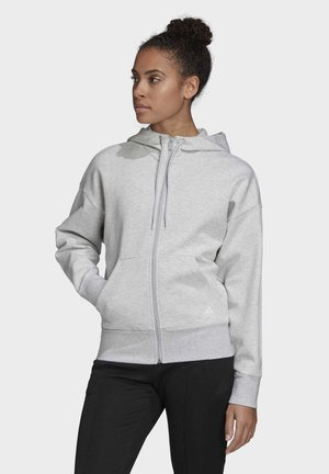 3-STRIPES DOUBLEKNIT FULL-ZIP SCUBA HOODIE - Bluza rozpinana - grey