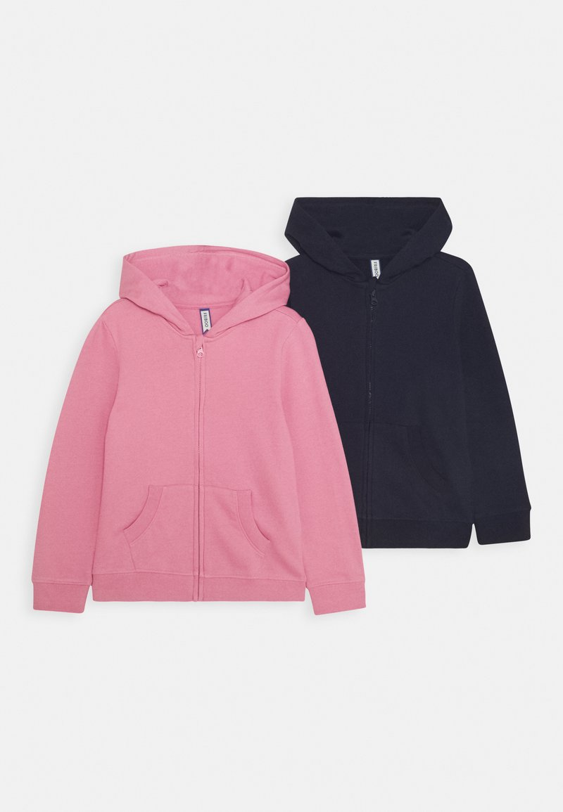 Friboo - GIRLS  BASIC 2 PACK - Zip-up hoodie - pink/dark blue