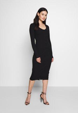 FRONT BUTTON DRESS - Pouzdrové šaty - black