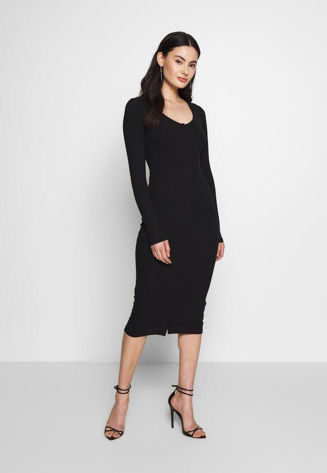 FRONT BUTTON DRESS - Fodralklänning - black