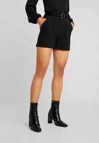 Lost Ink - PAPERBAG SHORT WITH BELT - Shorts - black - 0