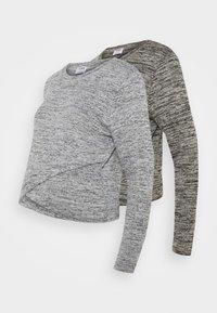 Cotton On - CROSS OVER FRONT LONG SLEEVE 2 PACK - Strikkegenser - black/greys twist - 0
