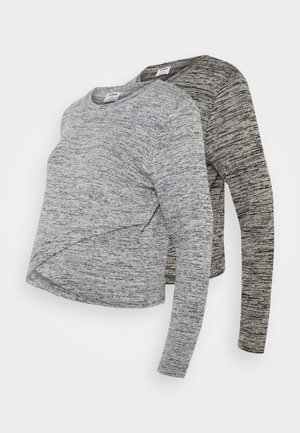 CROSS OVER FRONT LONG SLEEVE 2 PACK - Jumper - black/greys twist