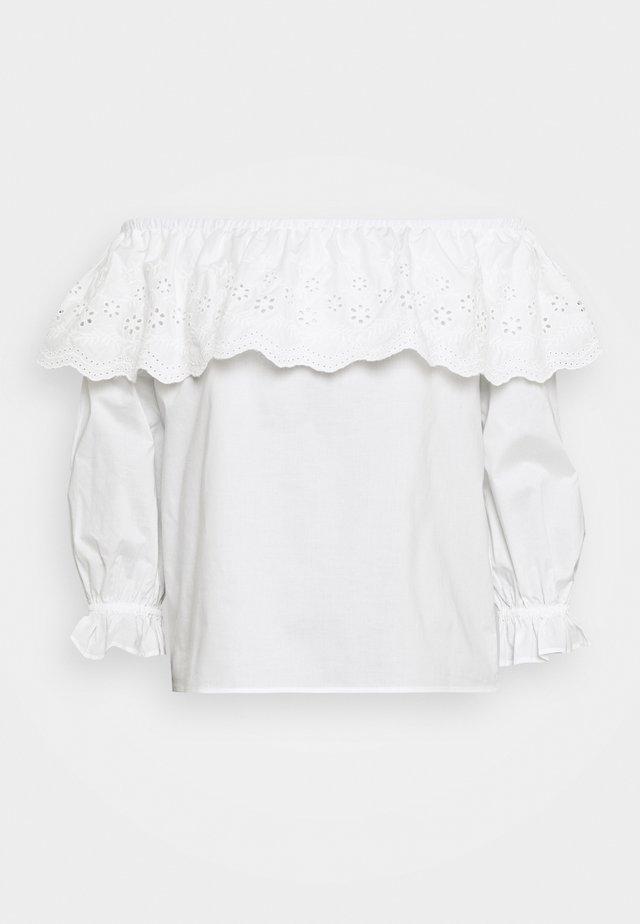 BELLE BARDOT CUTWORK POPLIN - Blouse - white