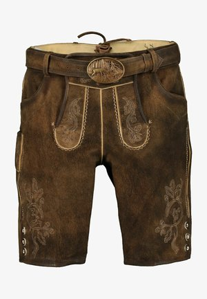 Leather trousers - tabak/st 238 holz